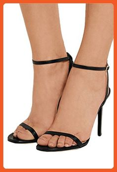 56fca9b975b1 TDA Women s Simple Design Ankle Strap Black Patent Leather Evening Party  Dress Stiletto Sandals 6 M