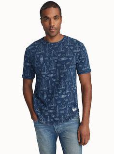 Sketched naval print indigo T-shirt | Report | Shop Mens Print & Pattern T-Shirts & Sweatshirts in Canada | Simons