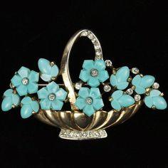 Trifari 'Alfred Philippe' Turquoise Fruit Salads Flower Basket Pin 1948