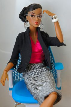 "This Barbie doll cracks me up. The back of her chair should say ""Unbothered"" or something like that. Barbie Style, Fashion Royalty Dolls, Fashion Dolls, Diva Dolls, African American Dolls, Poppy Parker, Beautiful Barbie Dolls, Barbie Clothes, Barbies Dolls"