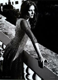 Crystal Cascade - Blumarine Spring Summer 2014 • Actress Vittoria Puccini in a silk plumetis long dress with crystals.   Vanity Fair, Italy - January 15, 2014 - pag. 44