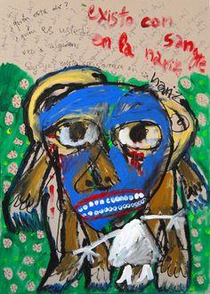 """""""Existo con sangre en la nariz"""" de Victoria Barranco @ VirtualGallery.com - Pintura acrílica en cartón de 50x70 cm (19.7x27.6 in). Arte marginal. Diálogo de una mujer consigo misma. (2015)"""