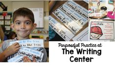the writing center with actual activities for first graders. No more just write in your writing journal. These are awesome writing activities with purpose.