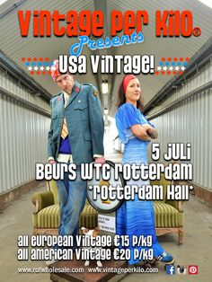 The 5th of July 2015 @Vintageperkilo can be found at the World Trade Center of Rotterdam, in Rottterdam Hall we will have our Kick-Off of the USA - American Vintage Editions. More info at vintageperkilo.com