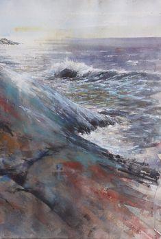 Mika Törönen Seascape Paintings, Watercolor Paintings, Waves, Outdoor, Beautiful, Boats, Art, Outdoors, Art Background