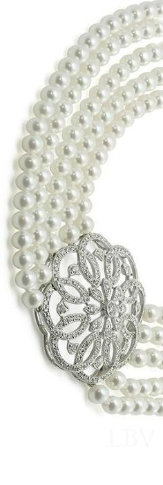Pearl and diamond clasp necklace  | LBV ♥✤