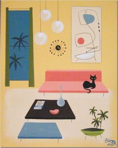 Mid century modern print with the black cat on the pink sofa...