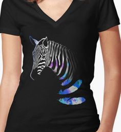 Zebra Women's Fitted V-Neck T-Shirt