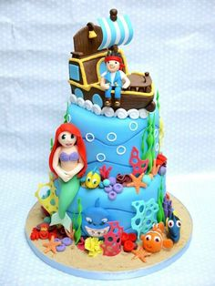 Jake and the Netherland pirates, little Mermaid and finding Nemo all in one cake