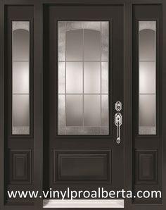 Steel Entry Door with 2 Sidelights 3/4 custom glass BEATRICE Steel ...