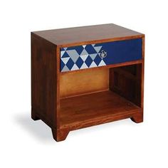 Geo Print range is an eclectic collection of Occasional Lounge furniture Comprising of rustic wood outers with navy blue drawers Bold Geometrics Blue Drawers, Vintage Chest Of Drawers, Vintage Nightstand, Living Furniture, Bed Furniture, Shabby Chic Furniture, Refurbished Furniture, Retro Bedside Tables, Storage Cabinets