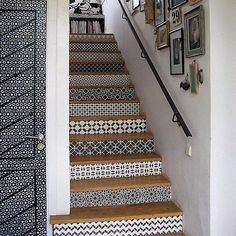 Use Royal Design Studio wall stencils on stenciled stair case risers for varying pattern that is chic and unexpected. Customize home decor with this DIY! Stenciled Stairs, Tile Stairs, Moroccan Stencil, Moroccan Tiles, Encaustic Tile, Royal Design, Floor Patterns, Stencil Patterns, Tile Design