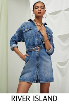 Women's new clothes from River Island - get this season's latest arrivals from your favourite high street store. Shop the full collection online. New Outfits, Spring Outfits, Belted Dress, Blue Jeans, Denim Skirt, Yves Saint Laurent, Spring Summer, Lady, Womens Fashion