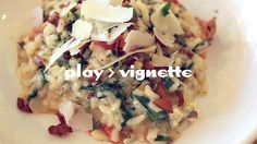 Creamy Three Cheese Risotto with Bacon, Spinach and Tomato