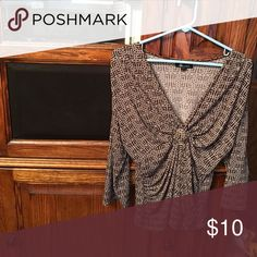 AB Studio Top With Gathered Front Beautiful top with 3/4 length sleeves and a brown background with tiny white and pink circles.  Fabric is so soft.  You will definitely turn heads wearing this beauty. AB Studio Tops Blouses