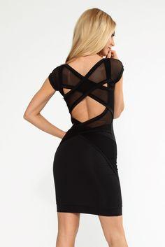 Black stunning designer cross back body con dress