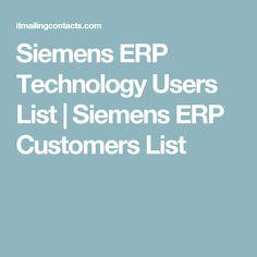 Siemens ERP Technology Users List | Siemens ERP Customers List