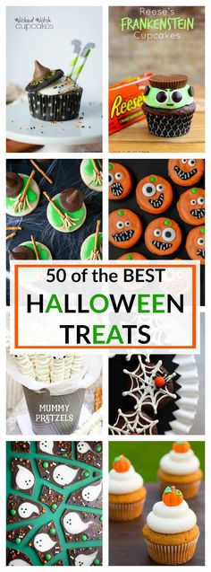 50 of the Best Halloween Treats - a collection of the best of the best Halloween Treats to make it just SPOOKTACULAR - A Dash of Sanity diy halloween recipes Diy Halloween Party, Bonbon Halloween, Halloween Treats To Make, Halloween Sweets, Halloween Goodies, Halloween Cupcakes, Halloween Birthday, Spooky Halloween, Halloween Crafts