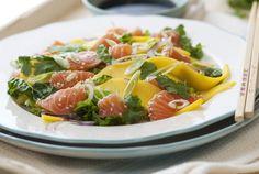 Sashimi med mango og avocado