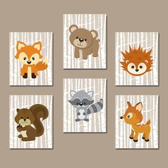 WOODLAND Nursery Wall Art, Woodland Wall Decor, Birch Wood Forest Animals, Forest Friends, Deer Owl FOX Boy Bedroom Canvas or Print Set of 6