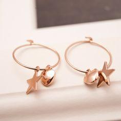 New Design Star & Heart Lady's Hoop Earrings