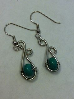 Wire wrapped turquoise earrings on Etsy, $12.00