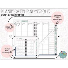 Planificateur numérique pour enseignants 2021-2022 Teacher Planner Free, Montessori, Map, Primary Education, Teachers, Classroom, Notebook, Tools, Organization
