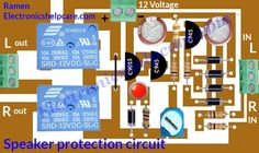 This is the Speaker protection circuit diagram. it's protect our Speaker from any short circuit. if amplifier got any problem then this circuit protect. Electronics Basics, Electronics Projects, Electronic Circuit Design, Hifi Amplifier, Power Supply Circuit, Electrical Projects, Diy Speakers, Susa, Circuit Diagram
