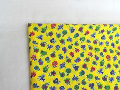 Vintage floral small print cotton fabric 60x31 inches yellow country style sewing craft supplies boho fabric, Quilting by Klaptik on Etsy