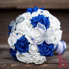 royal blue silk wedding bouquet, silver butterflies, horizon blue, sapphire blue, glitter roses, Cinderella inspired bouquet,royal blue and silver wedding, royal blue and silver bouquet, handmade wedding bouquet, bridal bouquet, royal blue and white, butterfly themed wedding, wedding inspiration