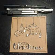 looks like hand lettering and drawin. handmade Christmas card … kraft base … looks like hand lettering and drawing in black with whi Homemade Christmas Cards, Merry Christmas Card, Christmas Signs, Xmas Cards, Christmas Art, Diy Cards, Homemade Cards, Holiday Cards, Merry Christmas Drawing