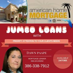 Realtors & Brokers:  JUMBO LOANS with Priority Attention to Your Clients Needs!  Feel free to call or text me anytime; Available 24/7/365! #mortgage #loans #jumboloans #realtors #brokers #consumers #realestate #floridarealestate #home #lovefl