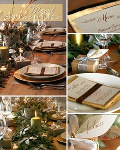 'Mixed Metallics & Naturals' tabletop by Laura from Make Merry!