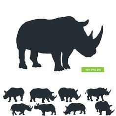 Silhouette rhino vector by silhouettes-clipart Silhouette Clip Art, Animal Silhouette, Silhouette Cameo Projects, African Animals, African Art, Rhino Tattoo, Rhino Logo, Rhino Art, African Quilts