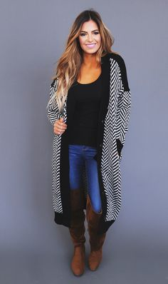 Black/White Chevron Over-Sized Cardigan - Dottie Couture Boutique