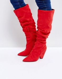 8185ec87719 ASOS CANYON Ruched Knee Boots Red Boots