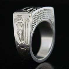 Ivan Thomas, Sterling Silver Ring, Eagle and Salmon, Northwest Coast Native Art