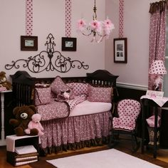 OH man if I ever have a little girl...this is TOTALLY her room!!!!!!  Pink and Brown Baby Girl Bedding | Pretty Pink and Chocolate Damask Crib Bedding | Carousel Designs