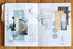 Travel journal pages and scrapbook inspiration - ideas for travel journaling, art journaling, and scrapbooking. Kunstjournal Inspiration, Sketchbook Inspiration, Art Sketchbook, Smash Book, Art Journal Pages, Art Journals, Sketch Journal, Travel Journals, Journaling