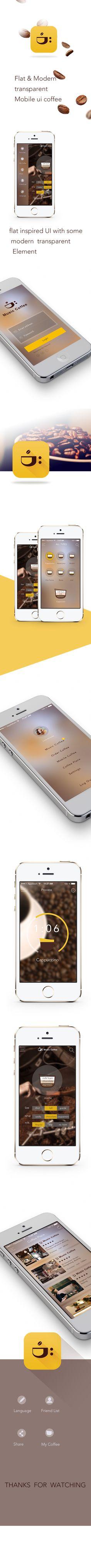 Flat & Modern transparent Mobile ui coffee by alina fu, via Behance