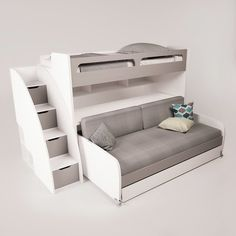 Brayden Studio Gautreau Twin Bunk Bed over Full XL Sofa Bed, Table and Trundle Twin Futon, Futon Bunk Bed, Bunk Bed With Trundle, Bunk Beds With Stairs, Twin Bunk Beds, Kids Bunk Beds, Mattress Covers, Bed Mattress, Sharing Bed