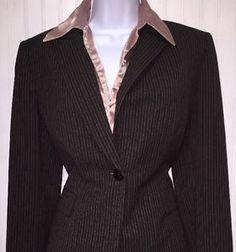TAHARI ASL 3 PC Brown Pinstripe Business Pant Suit Polyester Size 8  | eBay