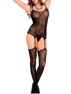 bbad044cc Ifeverlove Women s Shoulder Strap Crotchless Fishnet Bodystocking