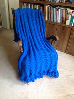 Luxurious Blue Afghan New Hand Crocheted by YarnQueens on Etsy, $92.50