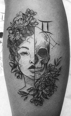 <<Check out more Gemini tattoos #tattoomenow #tattooideas #tattoodesigns #tattoos #gemini #zodiac Cool Chest Tattoos, Chest Tattoos For Women, Chest Piece Tattoos, Dope Tattoos, Badass Tattoos, Skull Tattoos, Tribal Tattoos, Body Art Tattoos, Star Tattoos