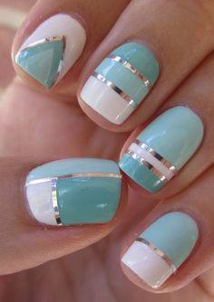 10 Eye-Catching Spring Nail Polish Trends: #10. Metallic Stripes