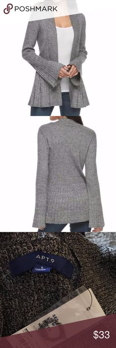 Apt. 9® Pleated Cardigan Gray NWT! New with Tags!  Comes from a smoke-free and pet-free home.  PRODUCT FEATURES Pleated back Ribbed trim Open front Long sleeves Comfortable cotton blend  FABRIC & CARE Cotton, rayon, nylon Machine wash Apt. 9 Sweaters Cardigans