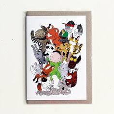 Greeting card - Baby and animals