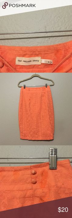 Anthropologie coral patterned pencil skirt Super adorable peachy coral skirt. I say the print is like a laced tribal pattern. Very light and fresh material. High waisted and comes down below the knee.?The dress is in good condition, has some little stains that I've tried to take out with a tide pen so those are the wet marks you see. I'm not sure if they will come out completely as I had it in storage and wasn't sure what caused them so please know they are existent. Just one or two little…