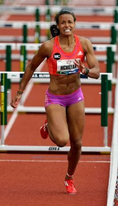 Heptathlete Chantae McMillan competes in the 100 meter hurdles at the U.S. Olympic Track and Field Trials Friday, June 29, 2012, in Eugene, Ore. (AP Photo/Eric Gay) Photo: Associated Press / SA